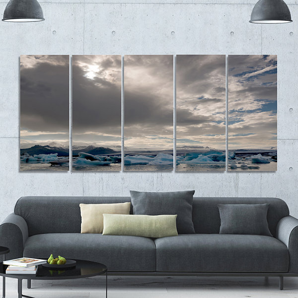 Designart Ice Of Jokulsarlon Lagoon Landscape Canvas Art Print - 5 Panels