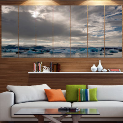 Designart Ice Of Jokulsarlon Lagoon Landscape Canvas Art Print - 7 Panels