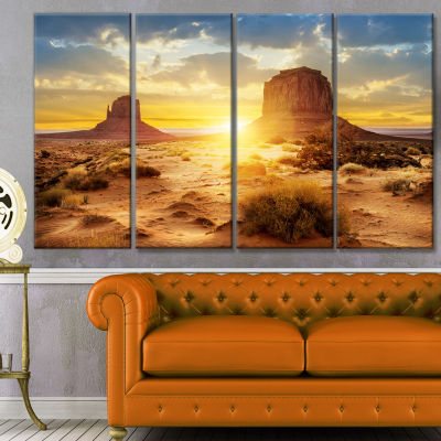 Designart Monument Valley At Sunset Landscape Canvas Art Print - 4 Panels