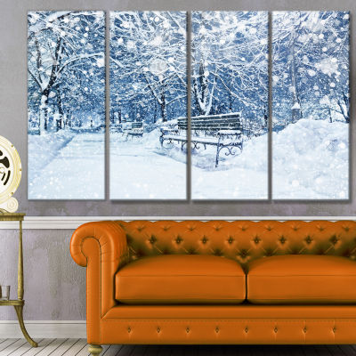 City Covered With Snow Landscape Canvas Art Print- 4 Panels