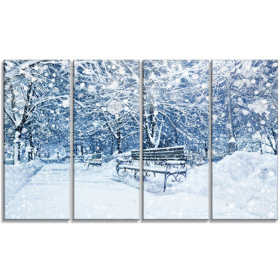 Designart City Covered With Snow Landscape CanvasArt Print- 4 Panels
