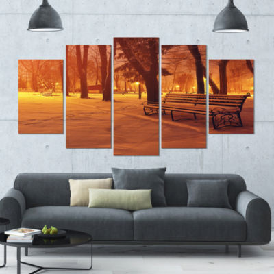 Snow Covered Benches In Evening Landscape Canvas Art Print - 5 Panels