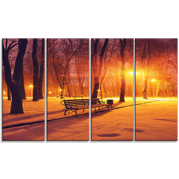 Designart Benches Covered In Winter Snow LandscapeCanvas Art Print - 4 Panels