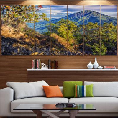 Designart Merbabu Volcano In Java Landscape CanvasArt Print- 7 Panels