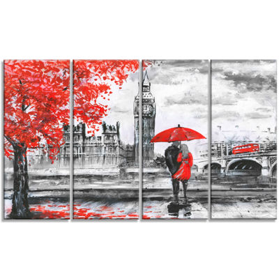 Designart Couples Walking In Paris Landscape Canvas Art Print - 4 Panels
