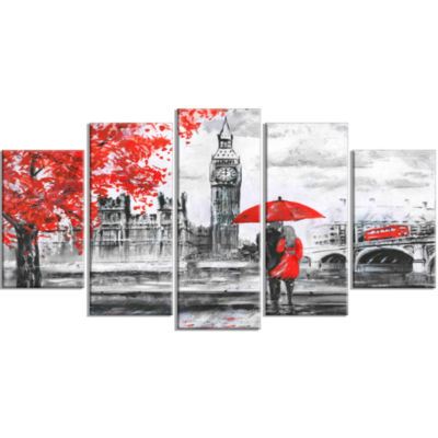 Couples Walking In Paris Landscape Large Canvas Art Print - 5 Panels