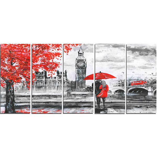Design Art Couples Walking In Paris Landscape Canvas Art Print - 5 Panels