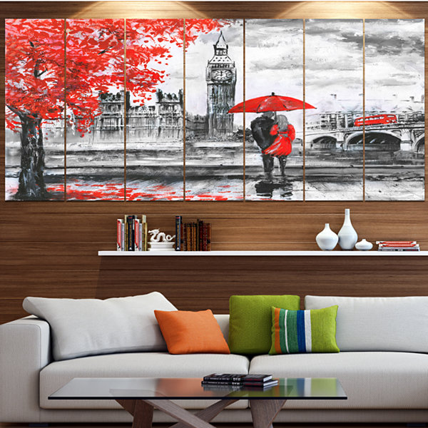 Designart Couples Walking In Paris Landscape Canvas Art Print - 6 Panels