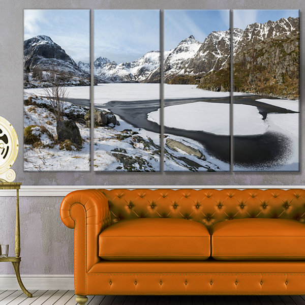 Design Art Winter In Lofoten Islands Landscape Canvas Art Print - 4 Panels