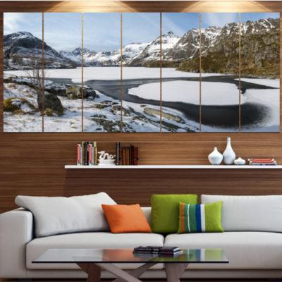 Designart Winter In Lofoten Islands Landscape Large Canvas Art Print - 5 Panels