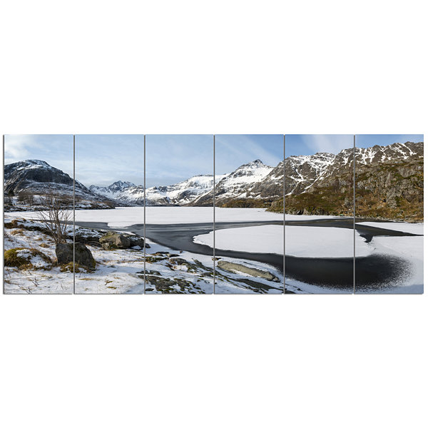 Design Art Winter In Lofoten Islands Landscape Canvas Art Print - 6 Panels