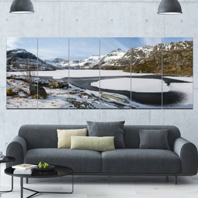 Designart Winter In Lofoten Islands Landscape Canvas Art Print - 6 Panels
