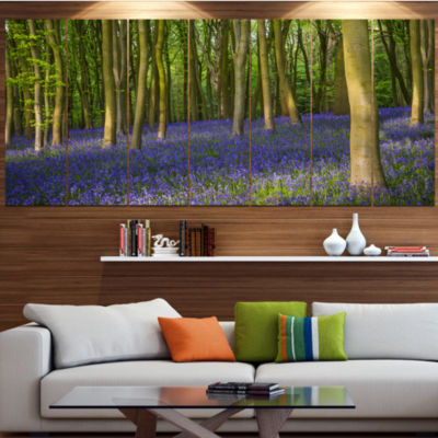 Designart Bluebell Woods In Oxfordshire LandscapeCanvas Art Print - 4 Panels