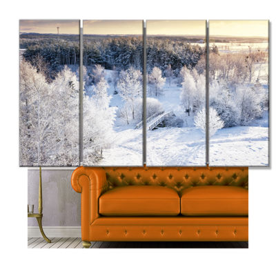 Designart Beautiful Winter Panorama Large Landscape Canvas Art Print - 4 Panels