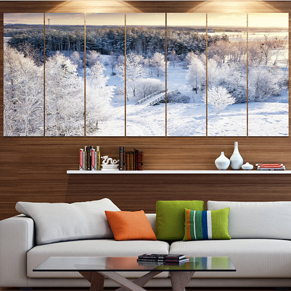 Designart Beautiful Winter Panorama Large Landscape Large Canvas Art Print - 5 Panels