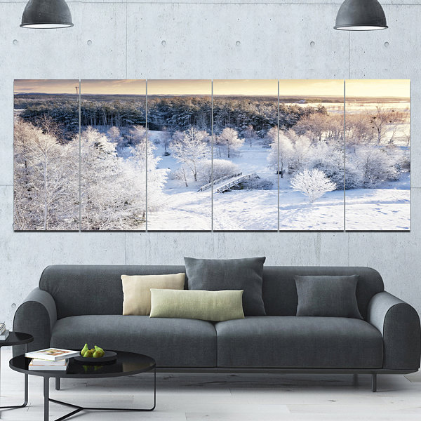Design Art Beautiful Winter Panorama Large Landscape Canvas Art Print - 6 Panels