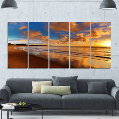 Colorful Sunset On The Beach Landscape Canvas ArtPrint - 5 Panels