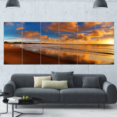 Colorful Sunset On The Beach Landscape Canvas ArtPrint - 6 Panels