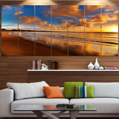 Designart Colorful Sunset On The Beach LandscapeCanvas Art Print - 7 Panels
