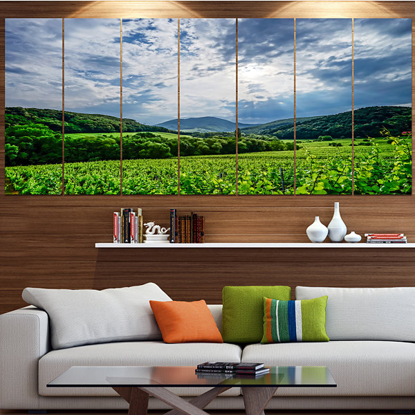 Designart Thunderstorm Weather Over Vineyards Landscape Canvas Art Print - 7 Panels