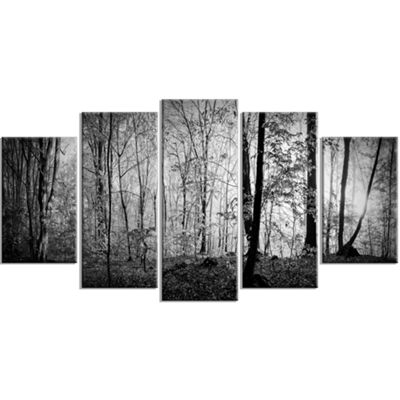 Designart Morning In Thick Fall Forest LandscapeLarge Canvas Art Print - 5 Panels