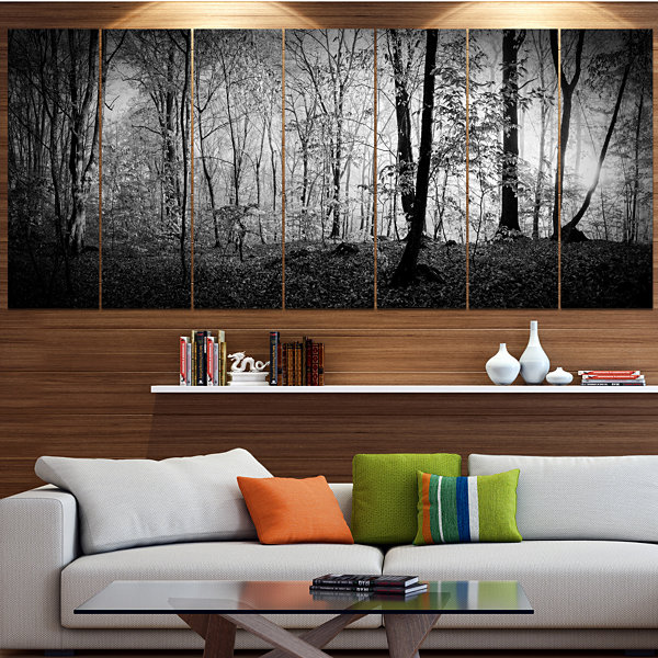 Designart Morning In Thick Fall Forest LandscapeCanvas Art Print - 5 Panels