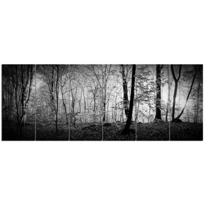 Designart Morning In Thick Fall Forest LandscapeCanvas Art Print - 6 Panels