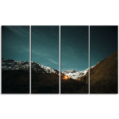Designart Fire In Rugged Mountains Landscape Canvas Art Print - 4 Panels