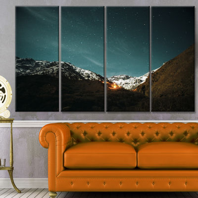 Fire In Rugged Mountains Landscape Canvas Art Print - 4 Panels