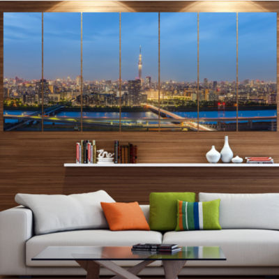 Designart Tokyo City View Panorama Landscape LargeCanvas Art Print - 5 Panels