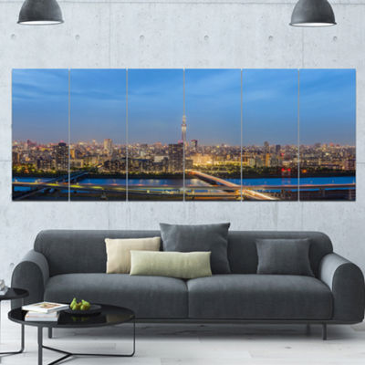 Designart Tokyo City View Panorama Landscape Canvas Art Print - 6 Panels