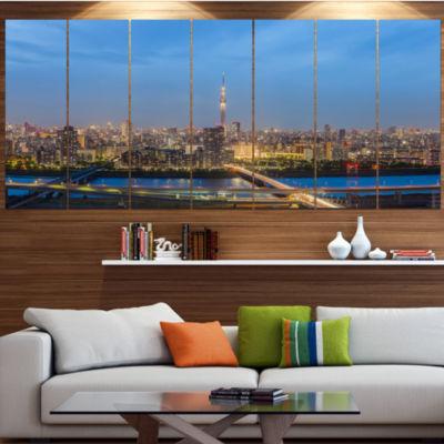 Designart Tokyo City View Panorama Landscape Canvas Art Print - 7 Panels