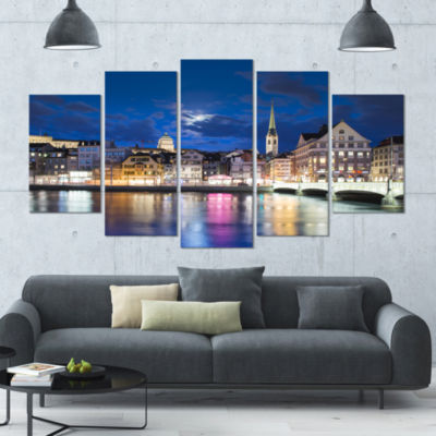 Scenic Panorama Of Old Town Landscape Large CanvasArt Print - 5 Panels