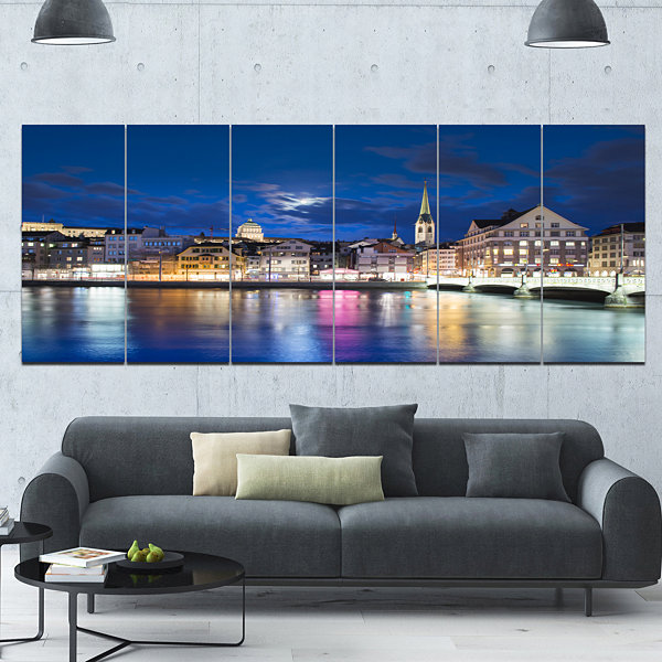 Design Art Scenic Panorama Of Old Town Landscape Canvas Art Print - 6 Panels