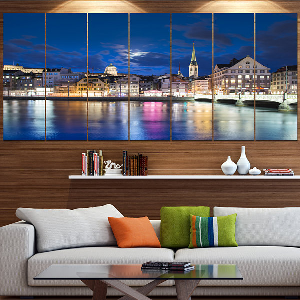 Design Art Scenic Panorama Of Old Town Landscape Canvas Art Print - 7 Panels