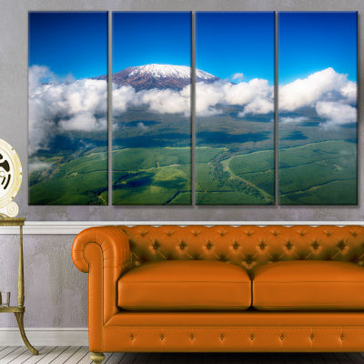 Aerial View Of Mount Kilimanjaro Landscape CanvasArt Print - 4 Panels