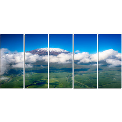 Designart Aerial View Of Mount Kilimanjaro Landscape Canvas Art Print - 5 Panels