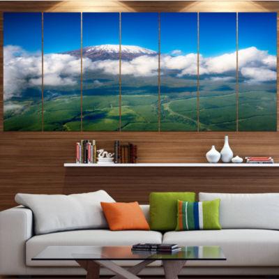 Designart Aerial View Of Mount Kilimanjaro Landscape Canvas Art Print - 6 Panels
