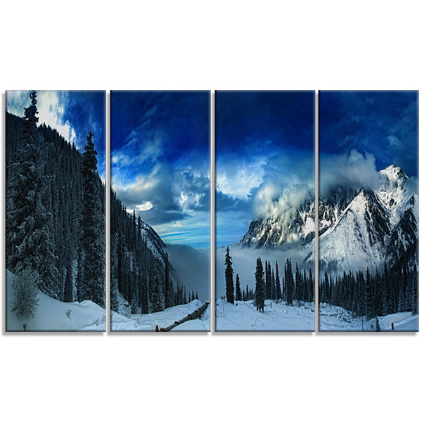 Designart Panorama Of Snowy Mountains Landscape Canvas Art Print - 4 Panels