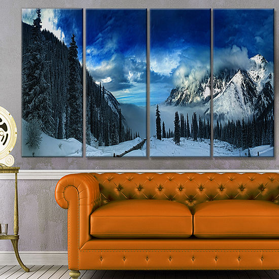 Designart Panorama Of Snowy Mountains Landscape Canvas Art Print - 4 Panels