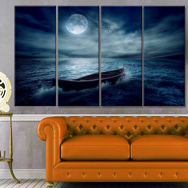 Designart Boat Driftinga Away From The Past Landscape Canvas Art Print - 4 Panels