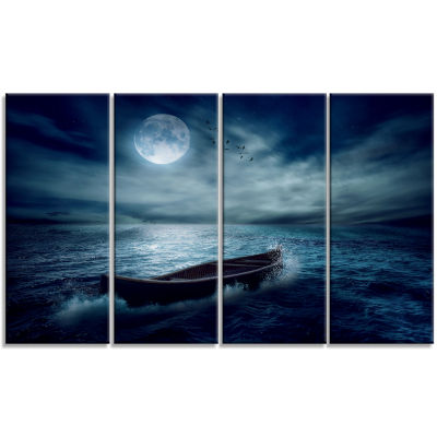 Boat Driftinga Away From The Past Landscape CanvasArt Print - 4 Panels