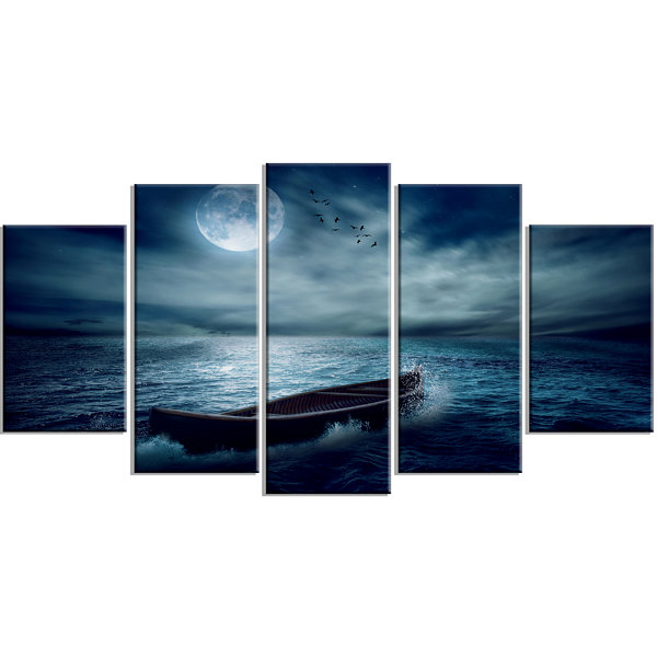 Designart Boat Driftinga Away From The Past Landscape Large Canvas Art Print - 5 Panels