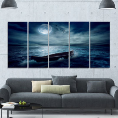 Boat Driftinga Away From The Past Landscape CanvasArt Print - 5 Panels