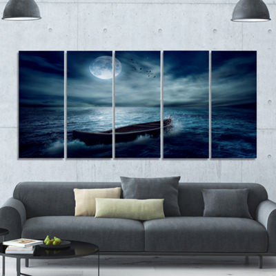 Designart Boat Driftinga Away From The Past Landscape Canvas Art Print - 5 Panels
