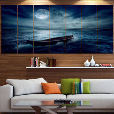 Designart Boat Driftinga Away From The Past Landscape Canvas Art Print - 6 Panels