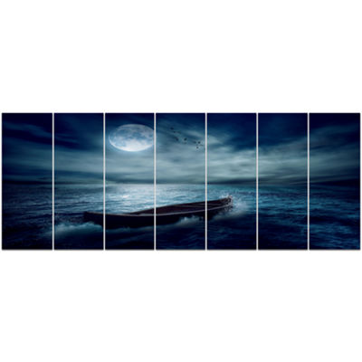 Designart Boat Driftinga Away From The Past Landscape Canvas Art Print - 7 Panels