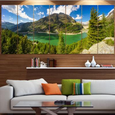 Design Art Greeny Alpine Reservoir Landscape Canvas Art Print- 6 Panels