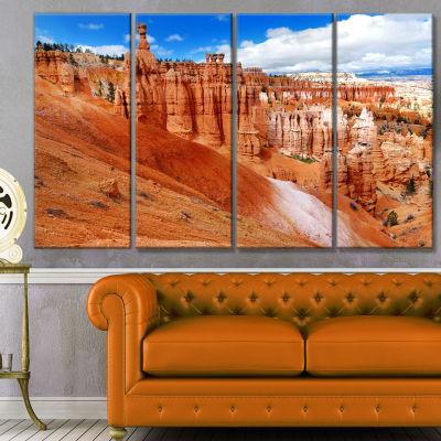 Designart Stunning Red Sandstone Hoodoos LandscapeCanvas Art Print - 4 Panels