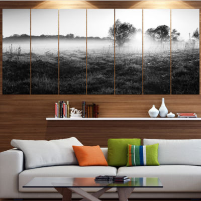 Designart Rural Meadow In Mist Landscape Canvas Art Print -5 Panels